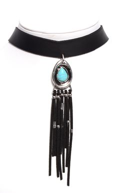 LEATHER FRINGE & TURQUOISE CHOKER Leather choker with silver adjustable…