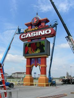 Casino Signage Install | Casino Pole Sign Install | Casino Pylon Install | Comanche Nation Casino by I-5 Design  Manufacture