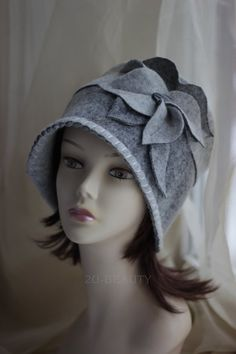 8f6bb484106c7 1920s Style Cloche Cap Felted Cloche Retro Wool Hat Vintage Inspired  Headwear Gatsby Style Retro Handmade Felted Hat Size 23