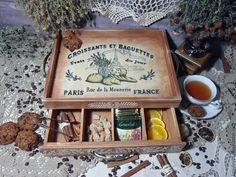 """Купить """"Croissants et baguettes"""" Чайный сервировочный короб поднос - поднос, поднос для кухни"""