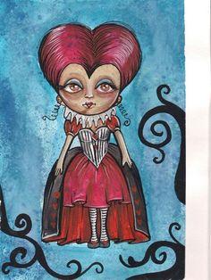aquarela THE RED QUEEN alice no pais das maravilhas - alice in wonderland watercolor art