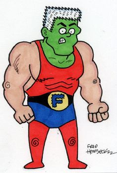 Fred-Hembeck-Color-Sketch-Card-Frankenstein-1960s-Dell-super-hero-1-1
