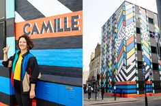"""Even though Old Street Station in east London is located in one of the most creative parts of the city, the buildings surrounding the underground station are, as a rule, pretty boring—corporate giants or slightly rundown shops. Walk along the street, however, and you'll soon come across a building that is a complete homage to creativity and color: artist Camille Walala's """"Dream Come True"""" creation for Splice."""