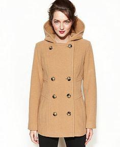 Jason Kole Coat, Double-Breasted Hooded Wool-Blend Pea Coat - Coats - Women - Macy's