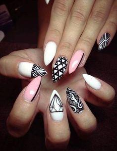 Pink, white & black nails