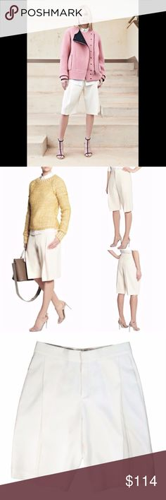 CHLOE Sail White 100% Wool Culottes Bermuda Shorts Chloé's loose-fitting but elegant silhouette. These Bermuda shorts have been tailored in Italy from woven wool. The wide pleated leg is balanced out by a flattering high waist. Wear yours with a slouchy sweater, or tuck in a silk blouse for a smarter approach.  Retail $895.00 Pale-cream woven-wool Pleats, pressed creases, side slit pockets, back welt pocket Concealed hook, button and zip fastening at front 100% wool; pocket lining: 70%…