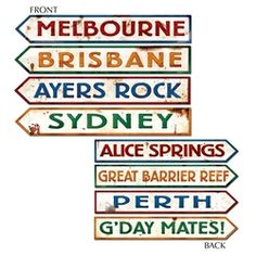 Beistle 55340 Australian Street Sign Cutouts, by *** You can find out more details at the link of the image. (This is an affiliate link) Perth, Brisbane, Melbourne, Sydney, Australian Party, Glinda The Good Witch, Ayers Rock, Directional Signs, Australia Day
