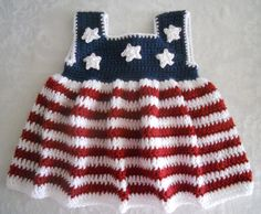 SOLD - Crocheted Baby Dress and hat set 6-9 months sized Red White and Blue with stars. $19.99, via Etsy.