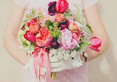Whimsical Peony Bouquet via SMP & 100 Layer Cake |  More #Peony #Bouquets Here: http://www.StyleMePretty.com/collection/572 | Source:: www.100layercake.com/blog/2013/02/01/valentines-day-elopement-in |  Photography: OurLaborofLove.com