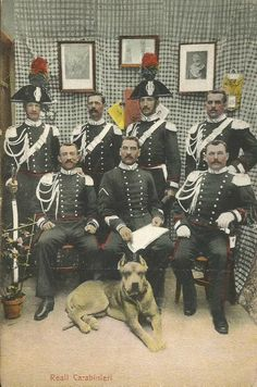 Vintage photo Italian military police with MWD Cane Corso
