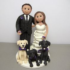 Wedding cake topper with their three dogs by Clayin' Around, via Flickr