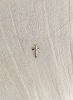 Tiny Cross Necklace-Silver Cross Necklace-Dainty by WickAndWear