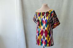ikat silk top designer silk tunic fall fashion ethnic tribal boho pure silk assymetrical top Uzbek autumn trends unique silk blouse bold