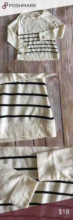 "Merona | Striped Crewneck Sweater Nautical Medium Excellent, like new condition. Cream sweater with black horizontal stripes. Crewneck. 60% cotton / 40% polyester. Size Medium. Measurements: armpit to armpit 19"", length 23.5"", sleeve length from collar 26"". Merona Sweaters Crew & Scoop Necks"
