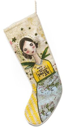 Kelly Rae Roberts Peace On Earth Peace Joy Angel Christmas Stocking - NuMercy.com