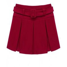 Indressme | Red Woolen Pleated Skirt style 00-0218301 only $27.00 .