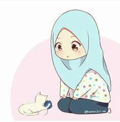 Suka kucing tak( means)love cats? Kawaii Anime, Anime Chibi, Anime Art, Kawaii Drawings, Cute Drawings, Walpapers Hd, Hijab Drawing, Islamic Cartoon, Hijab Cartoon