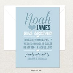 This unique and stylish birth announcement from Printed Ink is the perfect way to introduce your sweet baby to the world.
