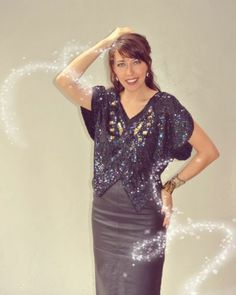 vintage silk sequin beaded butterfly top / cocktail party New Year's blouse