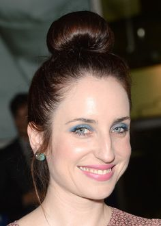 Zoe Lister Jones' top knot and pops of pastel.  [Vote! Who Had the Best Hair and Makeup at the 'Thanks for Sharing' Premiere?]
