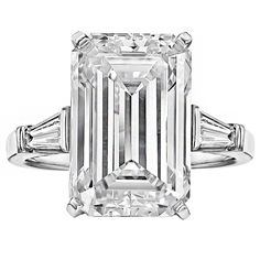 Emerald-Cut Diamond Engagement Ring, colorless & internally flawless & obnoxious huuuuuge.