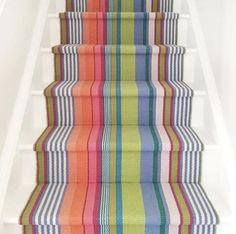 Bob the Builder tells me that everything I choose for our house is difficult. Like this runner on the stairs. I think Bob might be ready to break up with me. Striped Carpets, Cotton Rug, Decor Design, Floor Makeover, Dash And Albert Rugs, Striped Rug, Floor Decor, Bright Rugs, Interior Staircase
