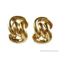 Retro Avon 1986 'Golden Sculpture' Earrings. Figure Eight Knot Goldtone Earrings #lemonkitscharms #large #jewelry