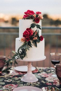 burgundy spring wedding cakes/ stylish wedding cakes/ rustic chic spring wedding cakes