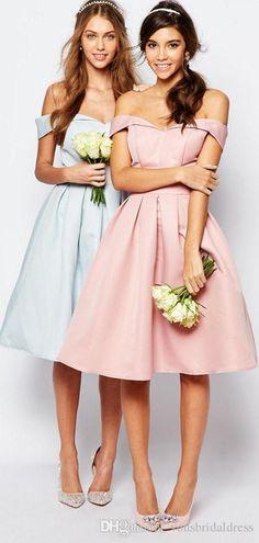 Off Shoulder Pink Satin Bridesmaid Dresses Short Cheap A Line Knee Length Maid of Honor Dresses
