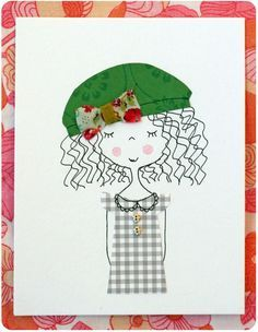 Paint/marker and fabric mix on a board with a girl. It would even be cute to dress a cut-out.