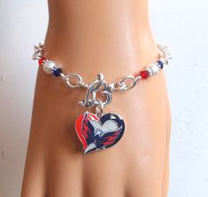Washington Capitals Bracelet White Pearl Red and Navy Crystal Pro Ice Hockey Caps Jewelry Accessory Bling Fanwear