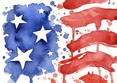 American Flag Art Print of Watercolor Painting 4th of July Decoration Independence Day Decor Red White Blue 'Merica