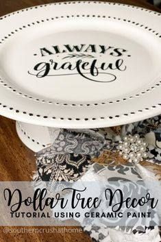 Dollar-Tree-Decor-Using-Ceramic-Paint Easy DIY cake or cookie stand. Dollar Tree Plates, Dollar Tree Decor, Dollar Tree Crafts, Dollar Tree Store, Painted Ceramic Plates, Ceramic Painting, Diy Painting, Ceramic Decor, Decorative Plates