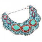 Collier plastron en perles brodées turquoises style indien
