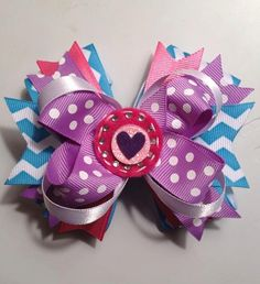 "5"" Heart Embellished Hair Bow"