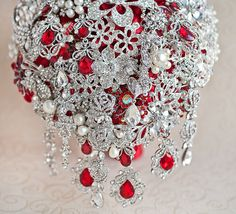 Cascading Brooch Bouquet | SALE! READY to SHIP! Cascading Brooch bouquet. Red and Silver crystal ...