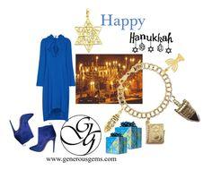 Happy Hanukkah by generousgems on Polyvore featuring Balenciaga and Gucci  #hanukkah #happyhanukkah #sharethelights #Menorah #Dreidel #starofdavid #gengems #blue #Chanukah