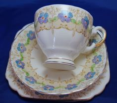Vintage Plant Tuscan China Made in England Teacup, Saucer and Plate