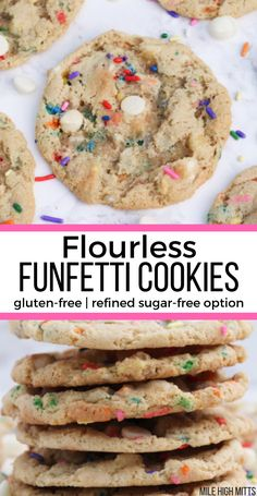 Flourless Funfetti Cookies are naturally gluten-free, with a refined sugar-free option. These cookies are filled with extra vanilla, white chocolate chips and sprinkles for an easy, chewy cookie recip Sugar Free Cookie Recipes, Sugar Free Cookies, Best Cookie Recipes, Gluten Free Cookies, Gluten Free Desserts, Free Recipes, Paleo Dessert, Gluten Free Party Food, Gluten Free Christmas Cookies