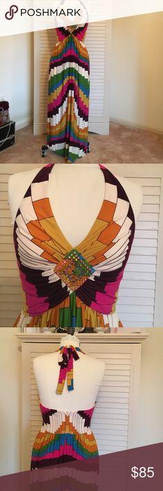SALE  Boston Proper halter maxi dress. colorful maxi dress. embellished front. Boston Proper Dresses Maxi