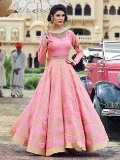 Designer Poly Silk Machine Work Pink Semi Stitched Lehenga