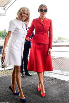 Brigitte Macron, spouse of the President of the French Republic, with Melania Trump
