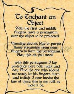 Enchant an Object, Book of Shadows Spells Page, Wicca, Witchcraft, like Charmed by Heather Cronkhite Devine
