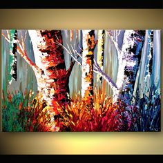 "Original Modern Birch Trees in Fall on canvas painting Gallery Quality Wrap Palette Knife from Osnat 36"". $340.00, via Etsy."
