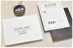 Elegant Bliss Wedding Invitation RSVP card | Bold type and illustrated banners, white and brass colors | by Smitten On Paper