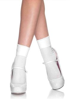 Add a feminine feel to any fashion-forward look with the Leg Avenue Opaque Nylon Cuff Anklet Ankle Socks. A classic design with a and wide cuff, these socks pair perfectly with heels, booties, and casual flats. Perfect for Halloween, a DIY costume, or casual wear. Socks And Heels, Ankle Socks, Fairy Tale Costumes, Diy Costumes, Cosplay Costumes, Pin Up Looks, Ballet Shoes, Dance Shoes, Leg Avenue