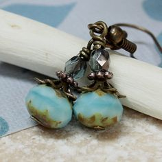 Turquoise Czech Glass Bead Earrings  by carolinascreations on Etsy, $4.00