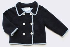 Baby CZ :: baby boy :: cashmere knitwear :: tipped double-breasted cardigan, navy/blue