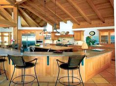 Open Type Kitchen and Dining Area - Here are the images of a beautifully constructed timber home from British Columbia from LogHome. This has both inside and outside framework. This is a spacious well-planned six-bedroom house with all facilities.