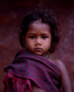 Indian village child with handloomed shawl